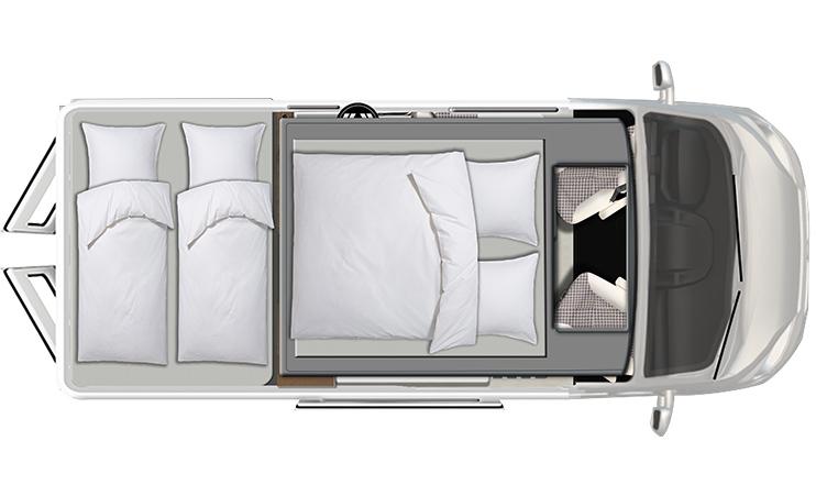Karmann Davis 590 View noční půdorys