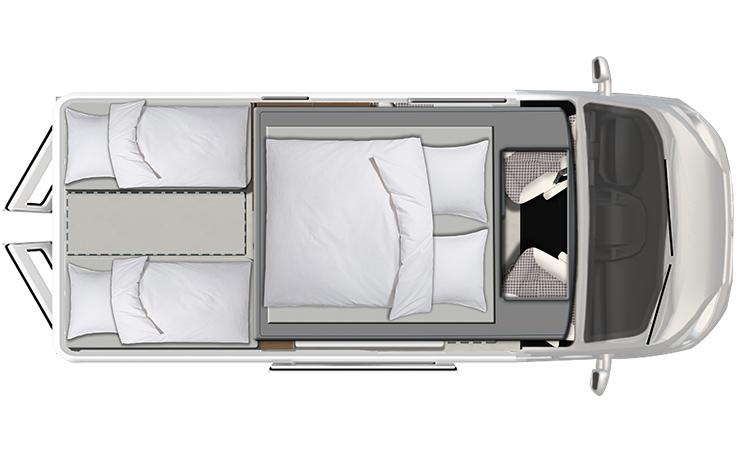 Karmann Davis 600 View noční půdorys